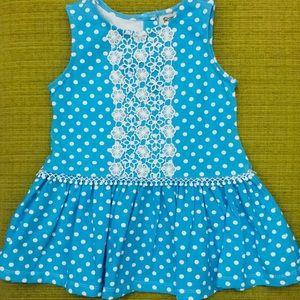 NWOT Rare Too Blue Polka Dot Dress size 24 months